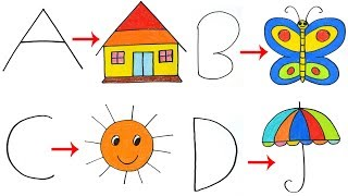Drawing with Letters for Kids | Drawing With ABCD | Turn words into drawing