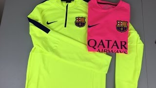 This is a review video of different types training clothing fc barcelona are using in 2014/2015 season.