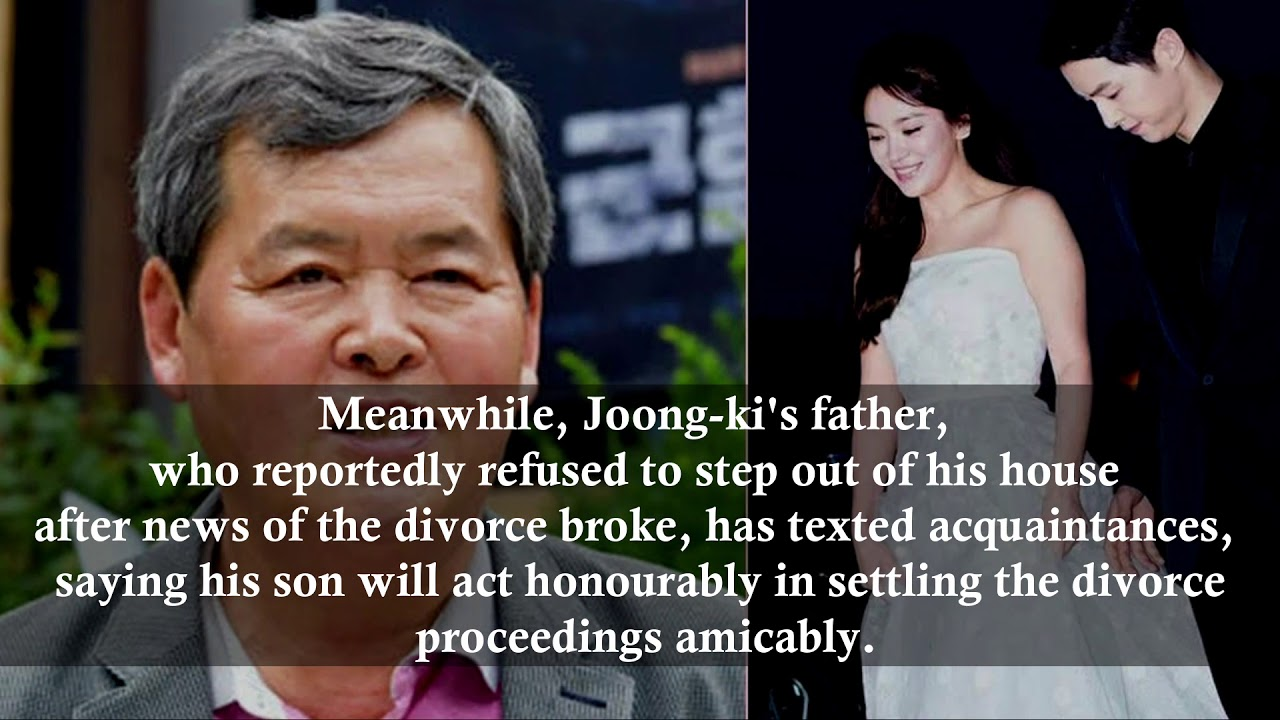 Joong-ki's father, who reportedly refused to step out of his house after news of the divorce broke