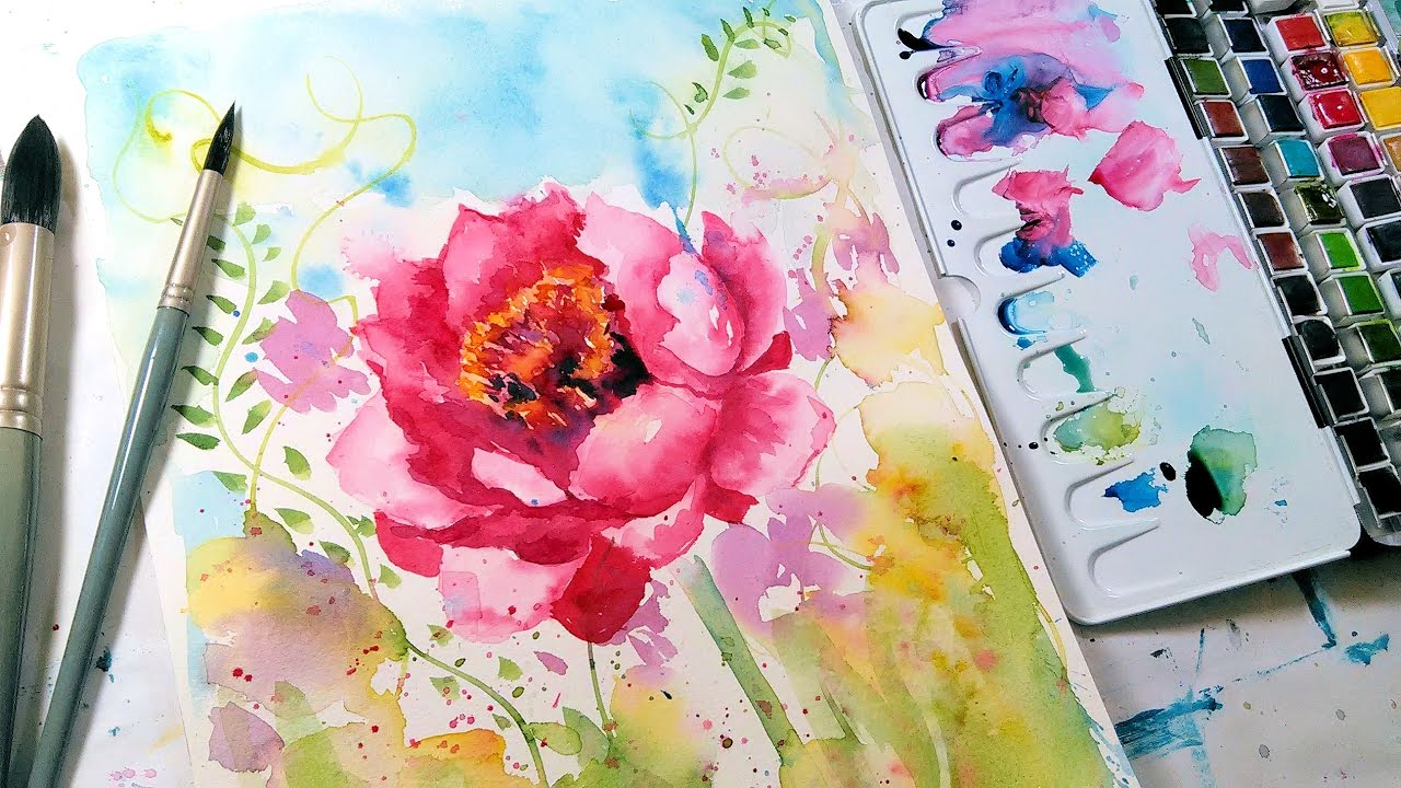 Loose easy peony watercolor tutorial real time youtube for Easy watercolor tutorial
