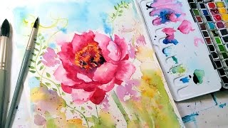 Loose & Easy Peony Watercolor Tutorial (Real Time)
