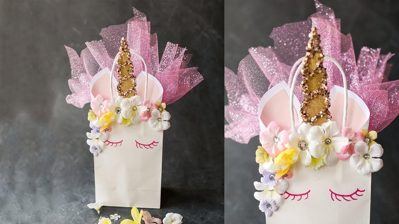 Unicorn Gift Bag Craft Tutorial YouTube