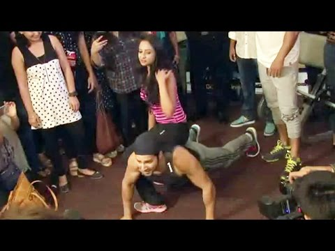 Varun Dhawan Does PUSH-UPS With A Girl   Dishoom Promotion