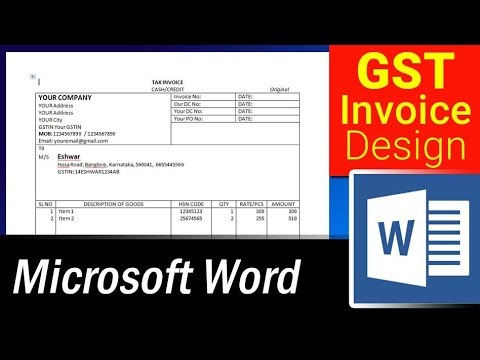 How To Design Simple Gst Invoice Format In Ms Word Microsoft Word Tutorial