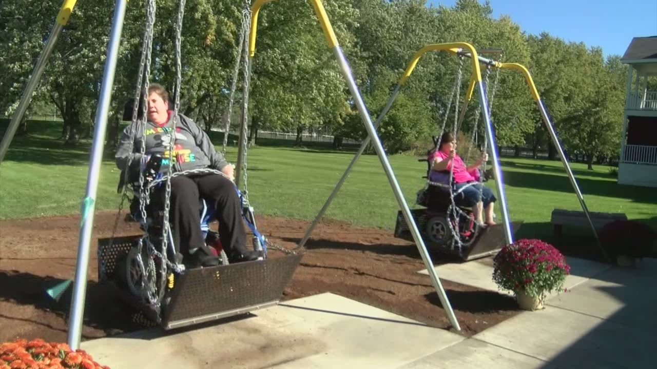 Handicapped swings for disabled adults