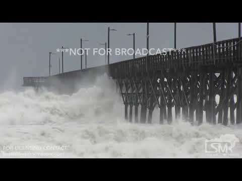 HUGE Waves crash into Top Sail Pier and swimer - Hurricane Florence - North Top Sail Island, NC - 11