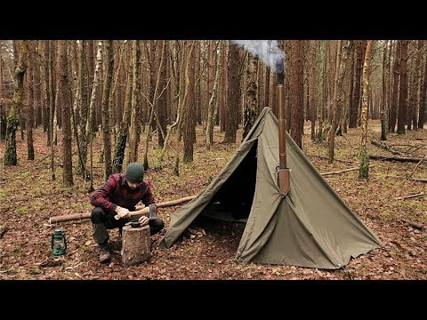 the latest 5e705 07144 Winter Hot Tenting Alone in the Forest with a Canvas Tent ...