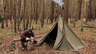 Winter Hot Tenting Alone in the Forest with a Canvas Tent and a Woodstove
