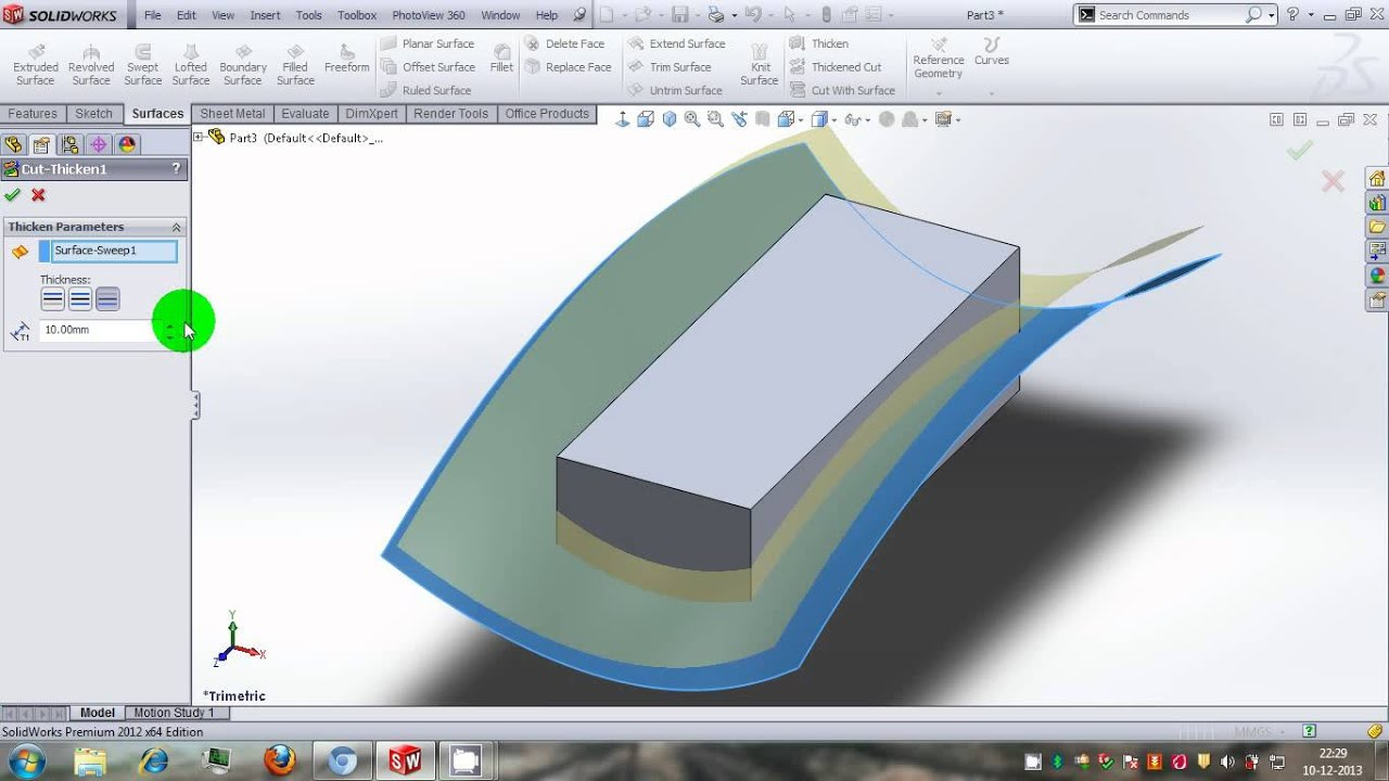 Solidworks Tutorial Similarties Between Quot Cut With Surfce