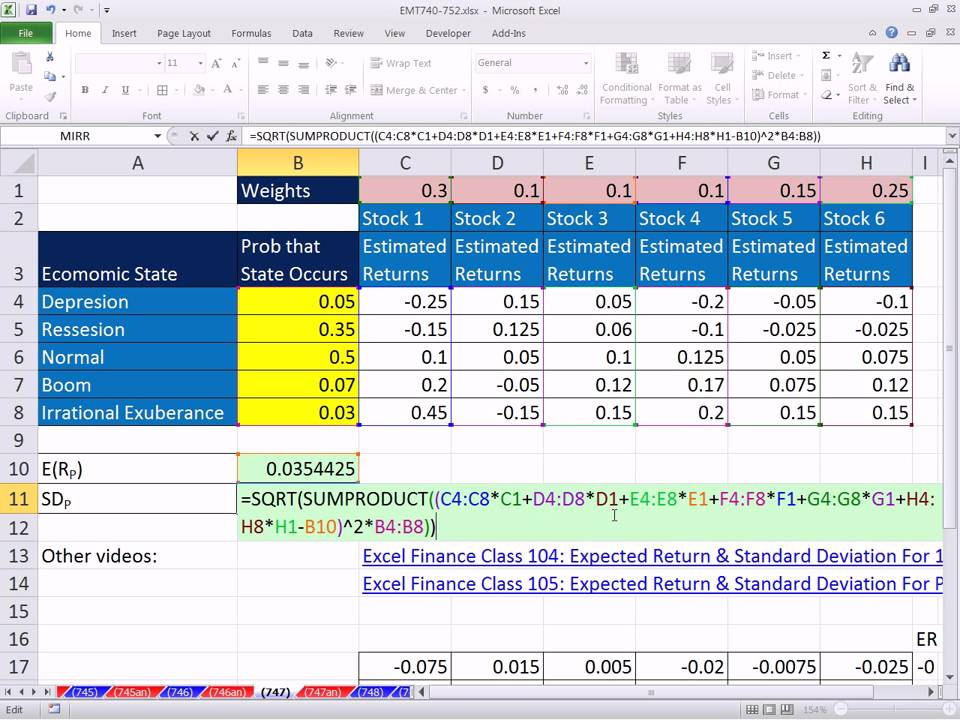 Excel magic trick 747 expected returns and standard deviation excel magic trick 747 expected returns and standard deviation single cell array formula youtube ccuart Images