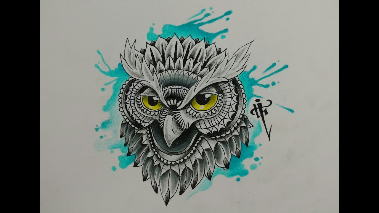 Diseño Buho Mandala Owl Zentangle Design Nosfe Ink Tattoo Youtube