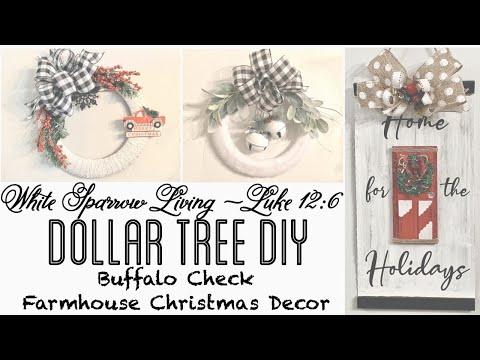 3 DIY DOLLAR TREE FARMHOUSE CHRISTMAS BUFFALO CHECK PROJECTS
