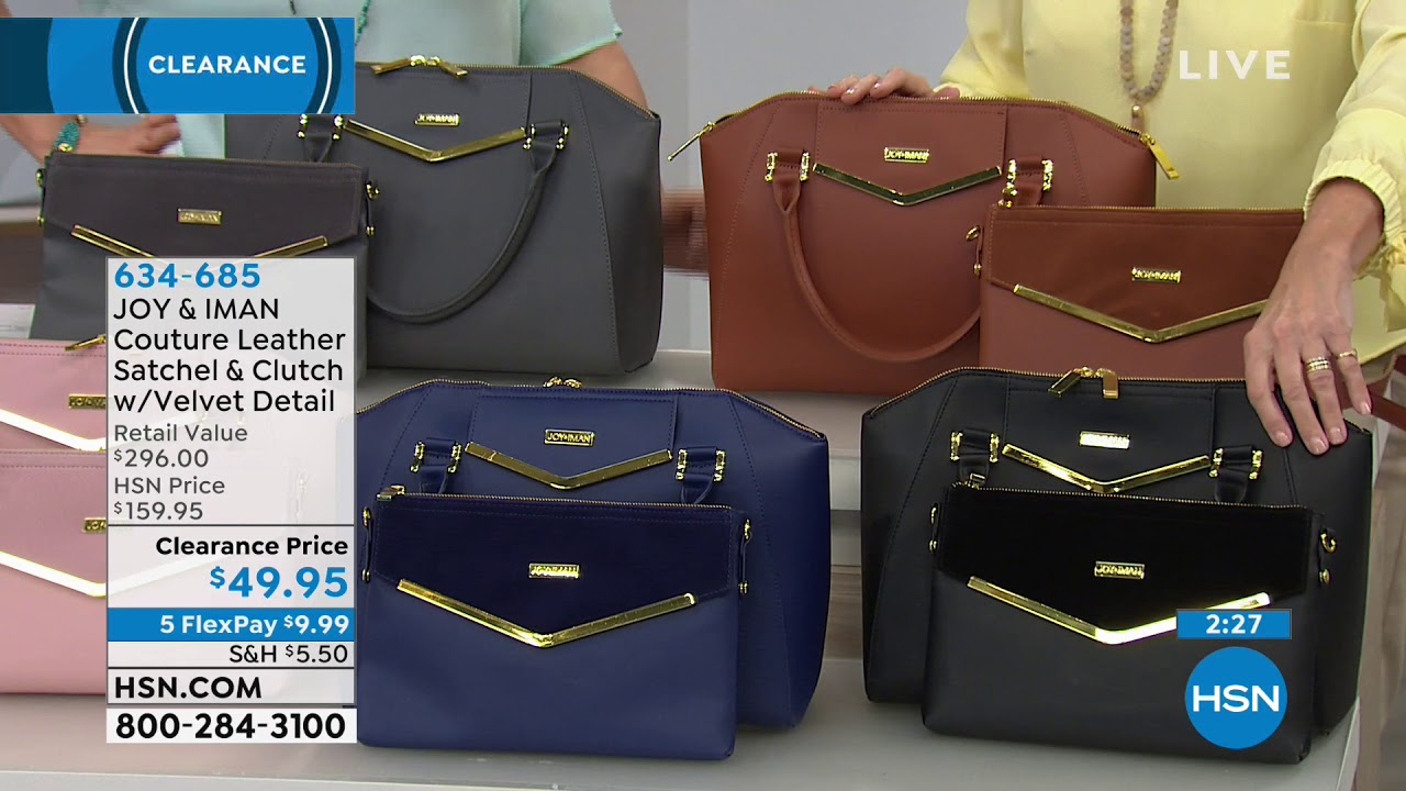 JOY IMAN Couture Leather Satchel Clutch with Velvet