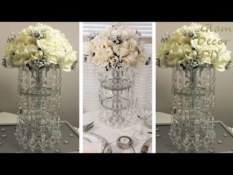 Dollar Tree DIY Glam Bling Crystal Pendant Wedding Centerpiece