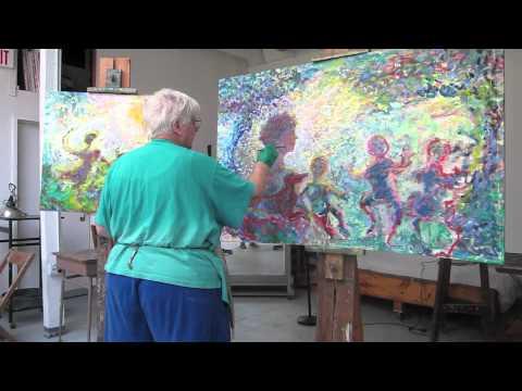 part 2, marcia sandmeyer wilson paints impressionist landscape w mother, children, dog, 2011