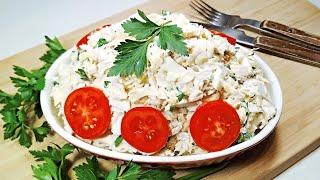 СЫТНЫЙ салат из простых продуктов. ОЧЕНЬ ВКУСНЫЙ салат из редьки с курицей