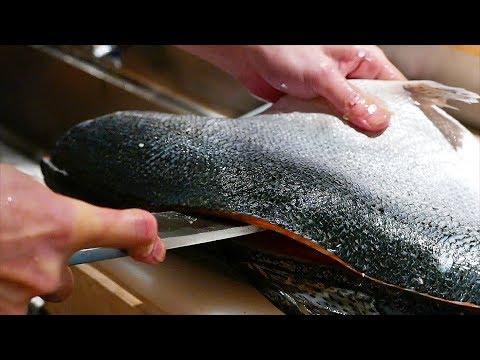 Japanese Food - FISH CUTTING SKILLS Salmon, Mackerel, Squid Sushi Kyoto Seafood Japan