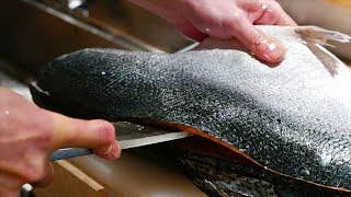 Japanese Food - FISH CUTTING SKILLS Salmon, Mackerel, Squid Sushi Kyoto Seafood Japan