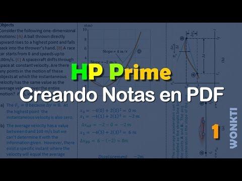 Referencia HP Prime: Creando Notas (pdfs) en la HP Prime