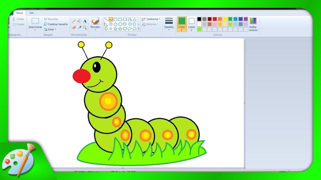 Dibujos Para Niños Cómo Dibujar Una Oruga Con Paint