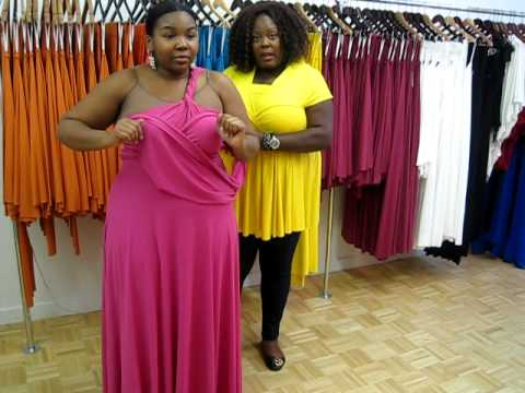 Monif C. Plus Sizes Marilyn Convertible Dress Video #3 Part 2 - YouTube