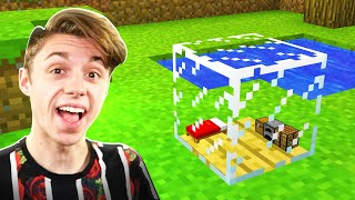 I BUILT a Minecraft House INSIDE a GLASS BLOCK!?