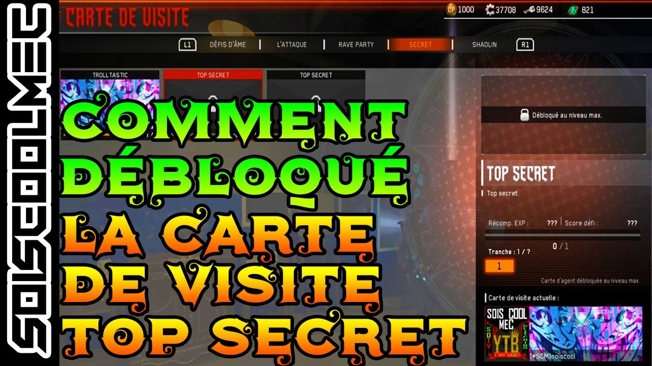 COMMENT DEBLOQUE LA CARTE DE VISITE TOP SECRET TUTO DLC3 ATTACK COD IW ZOMBIE