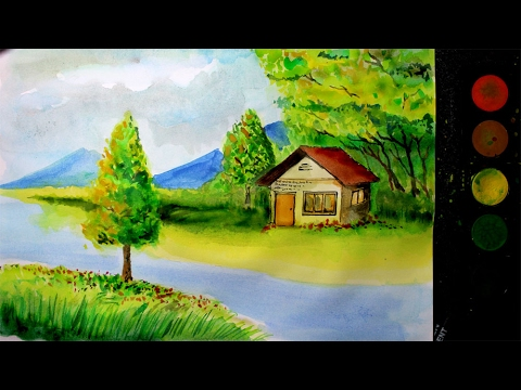 cara melukis pemandangan alam dengan cat air versi lambat