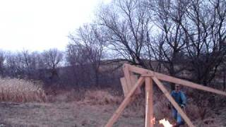 Trebuchet Catapult Throwing Pumpkin On Fire