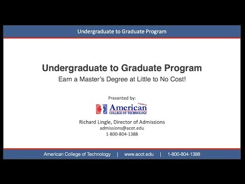 ACOT   Undergraduate to Graduate  - MBA Master of Business Administration Degree / Programs Online