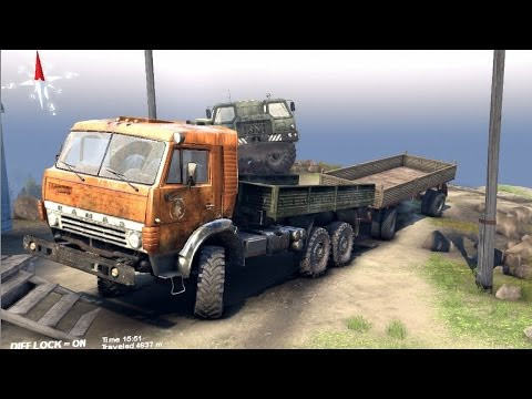 SPINTIRES 2014 - The Volcano Map - Kamaz + Full Trailer Driving to the Volcano