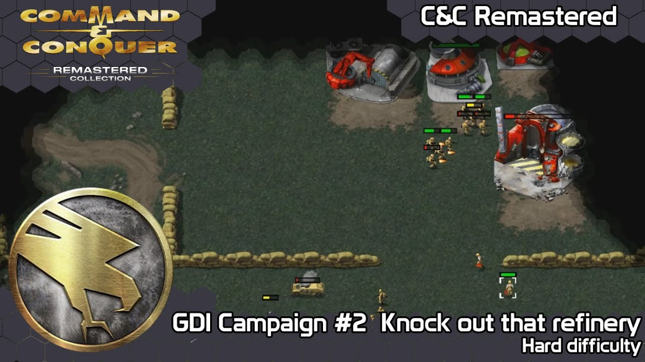 Command \u0026 Conquer Remastered - GDI mission #2 Knock out that refinery (Hard Difficulty)