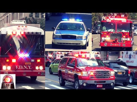 Police Cars Fire Trucks Ambulances Responding Best of Compilation 2 - Air Horns, Sirens, LIghts
