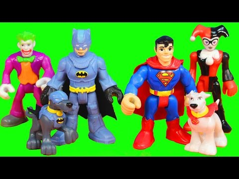 Imaginext Batman Batdog Ace & Superman Superdog Krypto Battle Joker Bane Riddler