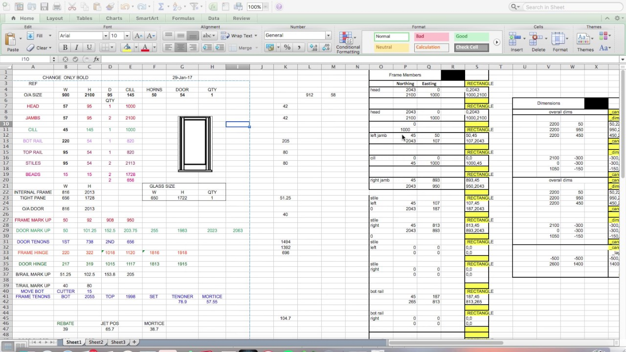 Door And Frame Cutting List From Excel Youtube
