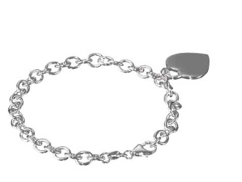 Silver Bracelet with Heart Charm.