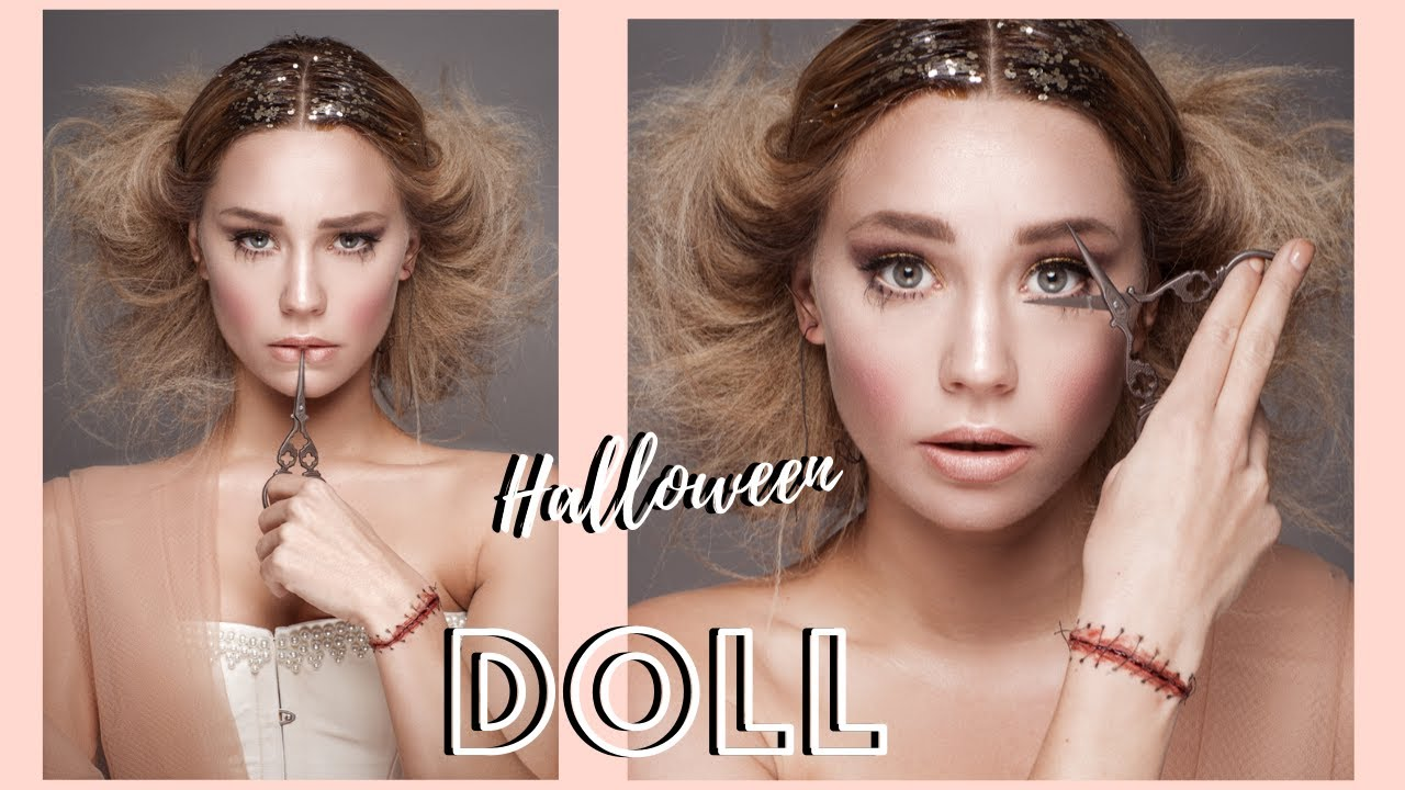 Maquillage halloween look poup e couturi re avec poignet recousu youtube - Maquillage poupe demoniaque ...