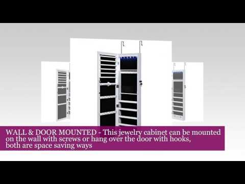 SONGMICS Lockable Jewelry Cabinet Wall Door Mounted Jewelry Armoire Organizer with Mirror LED Light