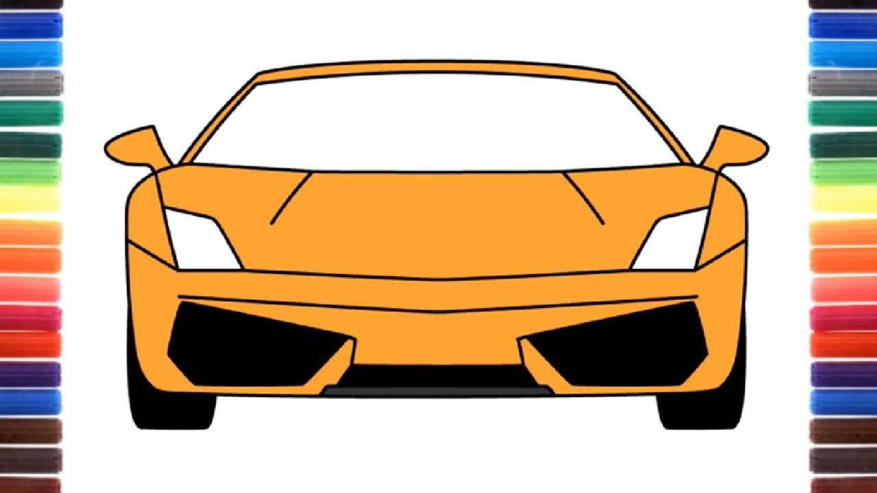 How to draw a car Lamborghini Gallardo front view - YouTube