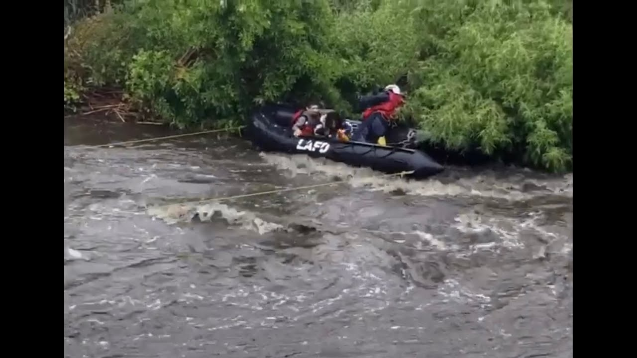 Lafd Rescues Homeless From L A River Near Atwater Village