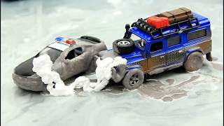 Video for Kids with Toy Cars Jumps in the mud &  Car Wash