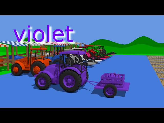 Learn Colors for Children to Learn with Farm Vehicles - and other Colorful Vehicles | Kolorowe Bajki