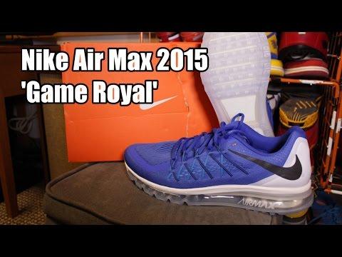 new style bfbcd 22db4 Nike Air Max 2015 Game Royal Black White Blue Legion - YouTube