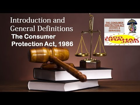 Consumer Protection Act | Introduction and General Definitions | Law Lessons