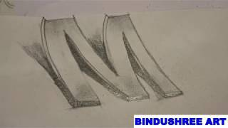 How to Draw 3D Letter M - Drawing with pencil-sindushree art