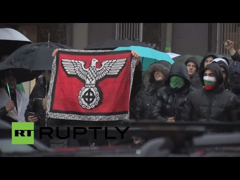 Bulgaria: Crowds wave Nazi flag at anti-refugee protest in Burgas
