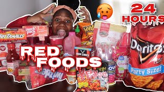 I ONLY ATE RED FOOD FOR 24 HOUR CHALLENGE!!
