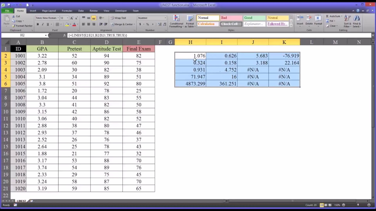 Predicting Values with the LINEST Function in Excel