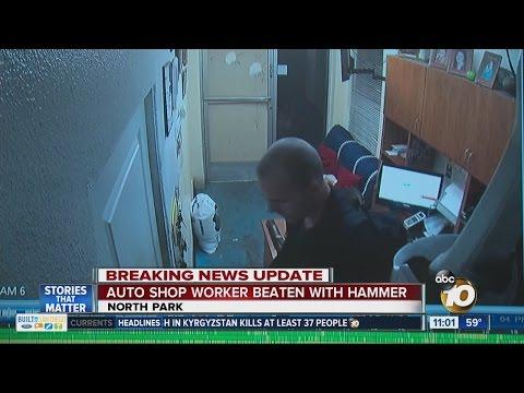 Auto shop worker beaten with hammer