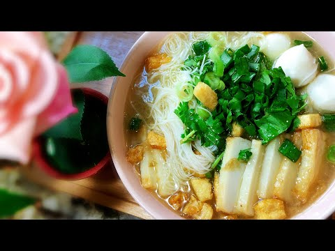 Fish Ball Noodle Soup (Beehoon/Rice Vermicelli)~Firm, Chewy, Soft & Bouncy Fish Balls